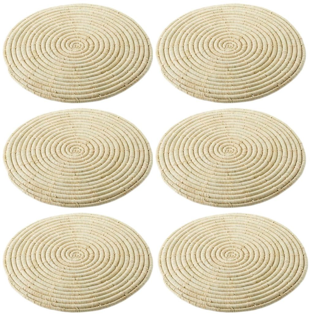 Set of 6 Natural Round Raffia Table Mats