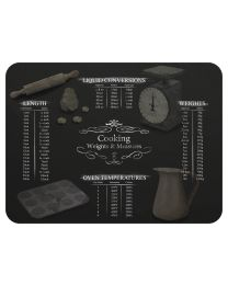 Tuftop Plain Smooth Glass Chopping Board in Black Weights Measures Design