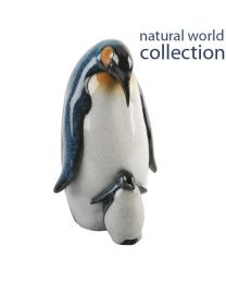 Natural World Collection Stone Effect Ornament Mother and Baby Penguin