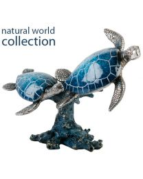 Natural World Collection Stone Effect Ornament Two Turtles Swimming