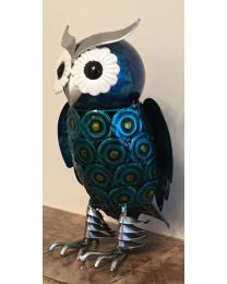 20cm Hand Painted Metal Owl Gift Ornament Figurine Retro Novel Decoration