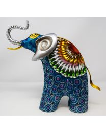 Hand Painted Metal Standing Elephant Ornament