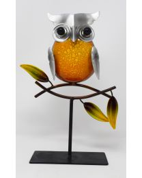 Hand Painted Metal Owl Sitting on Branch Ornament