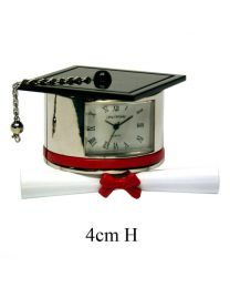 Miniature Novelty Clocks Graduation Hat and Scroll