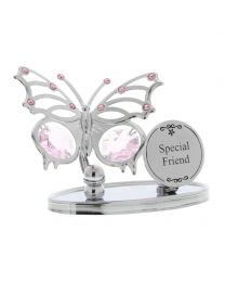 Crystocraft Chrome Plated Butterfly Plaque -Special Friend