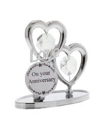 Crystocraft Chrome Plated Love Heart Plaque On Your Anniversary