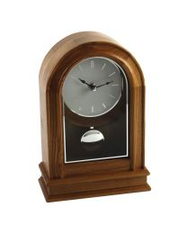 Arched Shape Light Oak Wood and Pendulum Mantel Clock