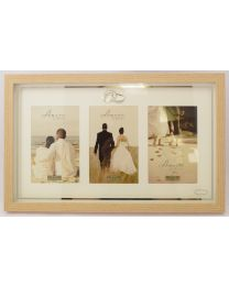 Amore Wood Effect Triple Aperture Photo Frame with Wedding Rings 3½'' x 5½''
