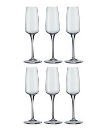 Set of 6 Bormioli Aurum Champagne Flute Glasses