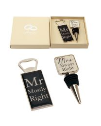 Amore Wedding Mr & Mrs Bottle Stop and Opener Gift Set