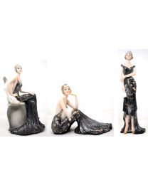 Art Deco Style Broadway Belles Black Dress Lady Figurines