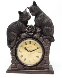Two Cats Figurine Mantel Clock Bronze Effect