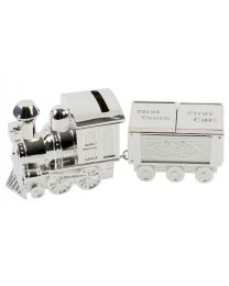 Silverplated Train and Carriage 1st Tooth 1st Curl Money Box