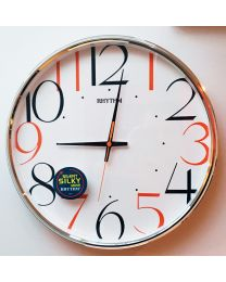 RHYTHM Wall Clock with Coloured Numbers Silent Sweep No Tick