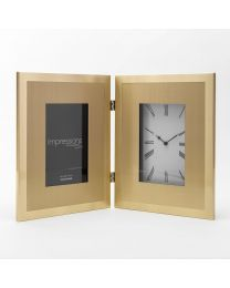 gold photo frame with clock 5017224926462