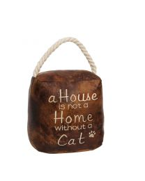 Novelty Brown Leather Effect Cat Doorstop 'A House Is Not A Home Without A Cat!'