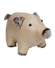 Novelty Beige Pig Animal Door Stop Heavy Weighted Fabric Doorstop