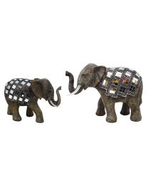 Naturecraft Elephant Figurine Mirror Mosaic Detail Gift Ornament
