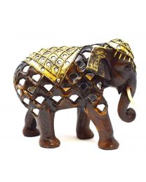 Wood Effect Decorative Mirror Mosaic Elephant Ornament 16cm