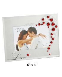 Impressions Glass Photo Frame with Crystals Love 6'x4'