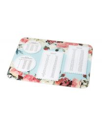 Floral Weights + Measures Glass Chopping Board Worktop Protector, Large 40x50cm