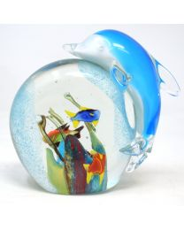 Objets D'art Glass Blue Dolphin Paperweight Figurine Gift Boxed Home Decor