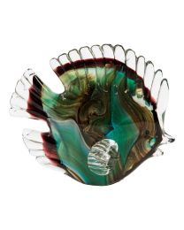 Juliana Objets D'art Glass Green Fish Paperweight Figurine