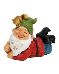Quirky Laughing Gnome and Squirrel Garden Ornament