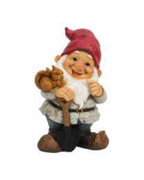 Cheerful Standing Gnome With Squirrel Garden Ornament Feature Gift