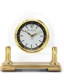 Clear Glass Arched Mantel Clock with Gold Detail
