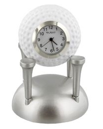 Novelty Miniature Desk Clock Golf Ball on Silver Tees Golfer Gift