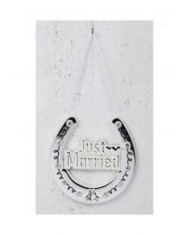 Just Married Lucky Hanging Horseshoe Wedding Gift, Silver Plated with Crystals