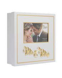 White Wedding Day Keepsake Box with 3D Gold Mr & Mrs Letters