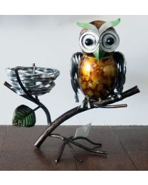 Hand Painted Metal Owl T-Lite Gift Ornament
