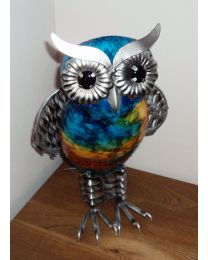 Large 31cm Hand Painted Metal Owl Gift Ornament