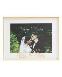 10'' x 8'' ''Mr + Mrs'' Gold Deep Photo Picture Frame Wedding Anniversary Keepsake Gift