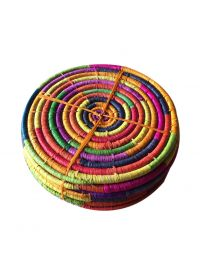 Set of 6 Multi Colour Round Raffia Table Mats 24.5cm