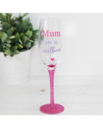 Mum In A Million Glitter Prosecco Wine Glass