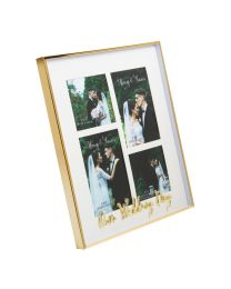Multi Aperture Our Wedding Day Gold Picture Photo Frame Gift Free Standing Wall Hanging