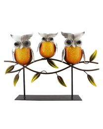 Metal Owl Ornament Family Trio Of Sitting Owls On Branch Hand Painted Sculpture