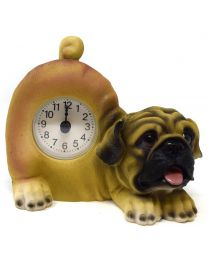 Pug Dog Wagging Tail Pendulum Mantel Clock
