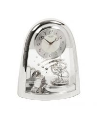 Rhythm Contemporary Motion Mantel Clock Silver Spiral Pendulum