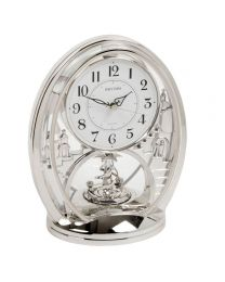 Rhythm Contemporary Modern Mantel Clock Silver Colour Twist Pendulum