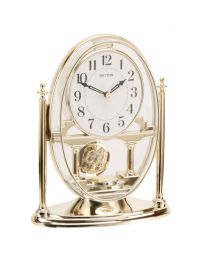 RHYTHM Mantel Clock with Moving Crystal Effect Pendulum in Gold