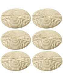 Set of 6 Natural Round Raffia Table Mats 24.5cm