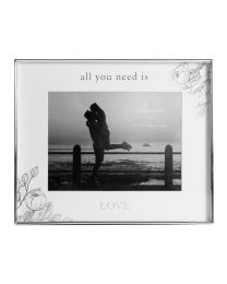 All You Need Is Love Silver Floral Photo Frame 8'' x 6'' Keepsake