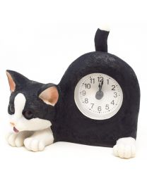 Black and White Cat Wagging Tail Mantel Clock
