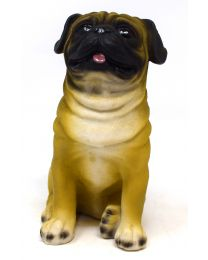 Life Like Pug Dog Sitting Figurine Ornament Boxed Gift