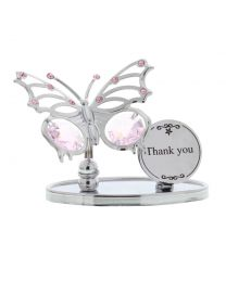 Crystocraft Chrome Plated Butterfly Plaque THANK YOU Gift