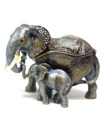Treasured Trinkets - Elephant + Calf Metal Die Cast Gift Box